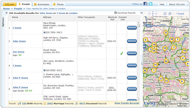 192.com people finder results page