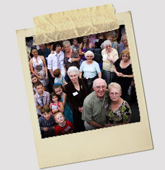 Peter and his wife Maureen surrounded by their extended family on the day