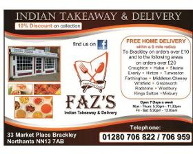 Faz's Brackley Indian Takeaway And Delivery