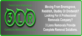 3 Lions Removals Bromsgrove Redditch Studley